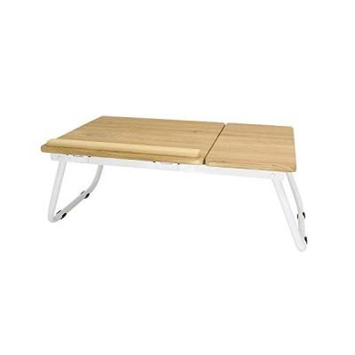 KAIDA ベットパソコンデスク 角度調節可能 ローテーブル 折りたたみ ベッド机 折り畳み式 ベッドテーブル ナチュラル木目調 ラップトッ