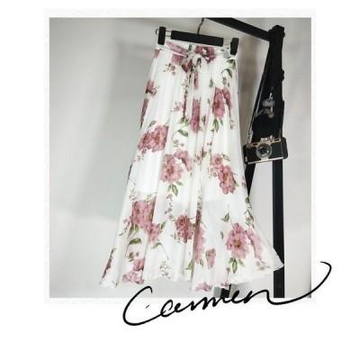 スカート 花柄 シフォン ウエストゴム KL リボン フェミニン Aライン 上品 きれいめ ハイウエスト 春夏