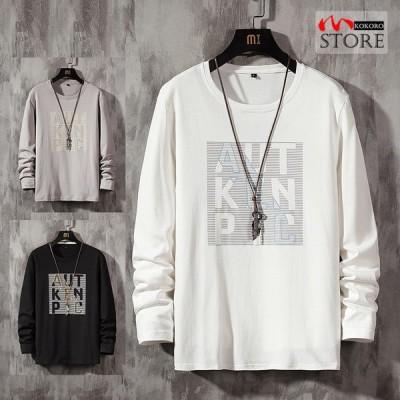 ロゴT メンズ ロンT トップス tシャツ アメカジ ロゴtシャツ t-shirt 長袖 100%コットン クルーネック 細身 2021 春夏 新作