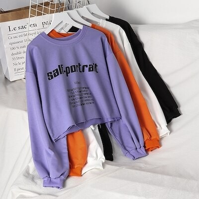 4色 ショート丈 長袖 トップス レディース 春秋 学園風 カジュアル ファッション アルファベット 合わせやすい Tシャツ プルオーバー ラウンドネック パーカー