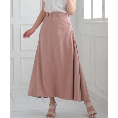 スカート 綿レーヨンサイド切り替えロングスカート