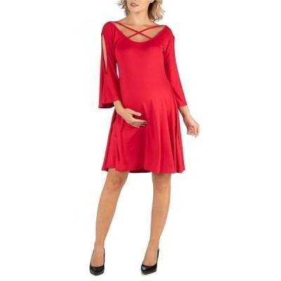 24セブンコンフォート ワンピース トップス レディース Maternity Knee Length Cold Shoulder Dress Red