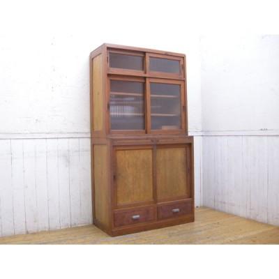 モールガラス・スライド棚付き・戸棚・食器棚・アンティーク・収納棚・142891