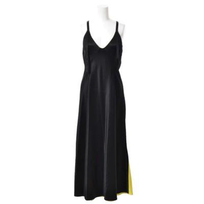 OFF-WHITE サテン ロング ドレス - ブラック オフホワイト