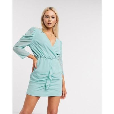 アックスパリス AX Paris レディース ワンピース ワンピース・ドレス ruffle front dress in light blue ターコイズブルー