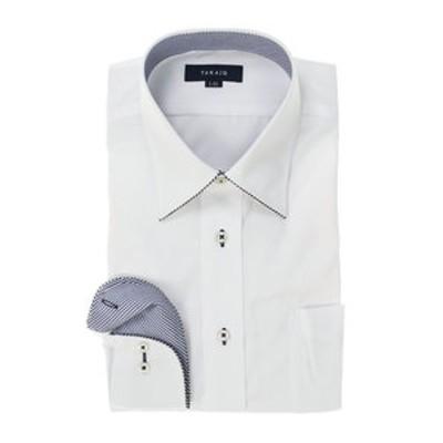 形態安定レギュラーフィット レギュラーカラーパイピング長袖ビジネスドレスシャツ/ワイシャツ