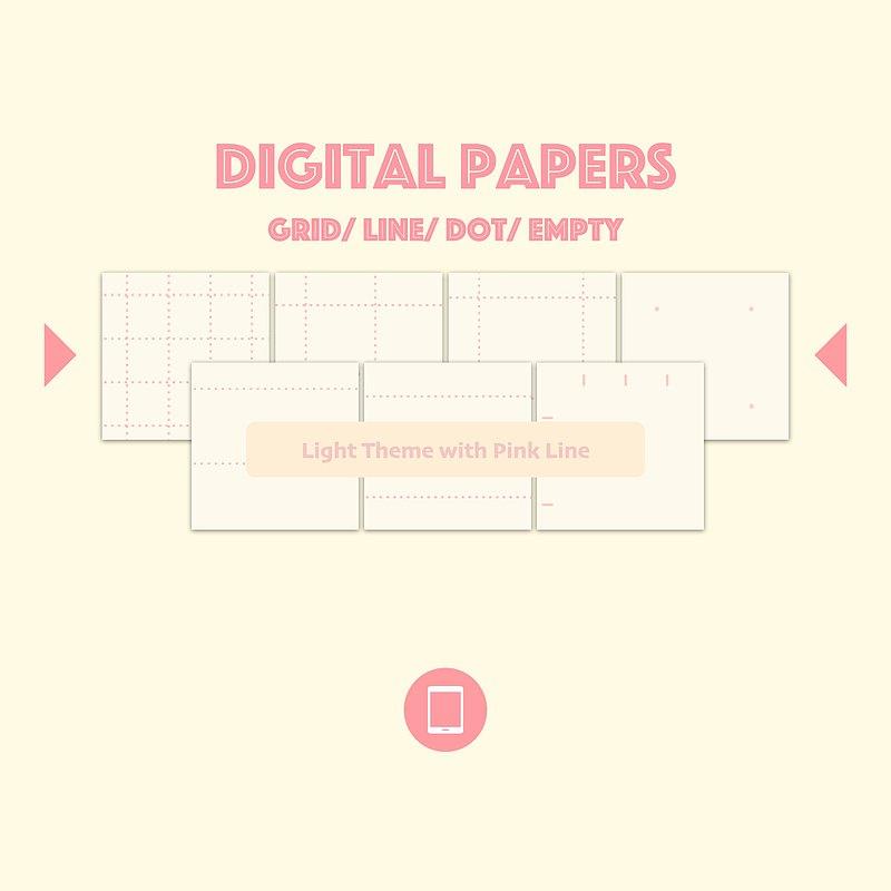 電子筆記本內頁-淺底粉線