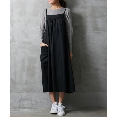 前後で着用可能サイドポケットデザインサロペットスカート【ゆったりワンサイズ】 (ジャンスカ)Skirts