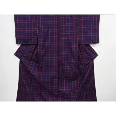 宗sou 未使用品 格子模様織り出し本場泥大島紬着物アンサンブル【リサイクル】【着】