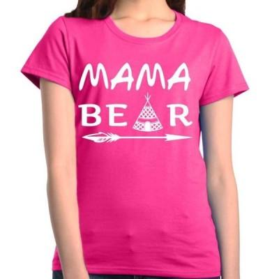 レディース 衣類 トップス Shop4Ever Women's Mama Bear Teepee White Feather Graphic T-Shirt グラフィックティー