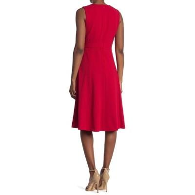 カルバンクライン レディース ワンピース トップス Surplice V-Neck Sleeveless Buckle Midi Dress RED