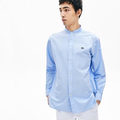 ラコステ LACOSTE リラックスフィットダブルカラーコットンシャツ (グレイッシュブルー)