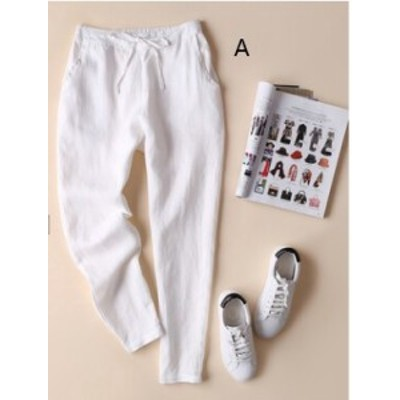 2020春夏の新作のレディースファッションのコットンリネンのゆったりする休むレディースパンツ CZJB543