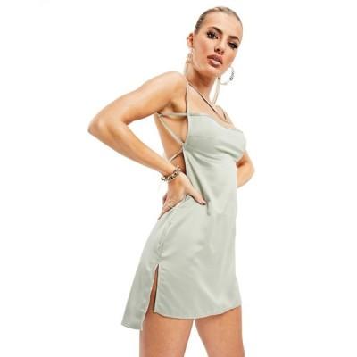 アズユー AsYou レディース ワンピース ミニ丈 ワンピース・ドレス Asyou Co-Ord Backless Satin Mini Dress In Light Olive ライトオリーブ