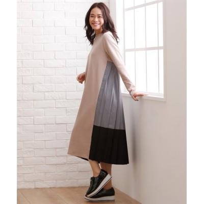 大きいサイズ バックプリーツ切替カットソーワンピース【INCEDE】 ,スマイルランド, ワンピース, plus size dress