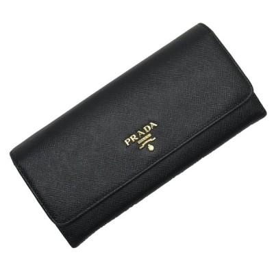 プラダ PRADA 二つ折り長財布 サフィアーノレザー NERO(ブラック) xゴールド 定番人気