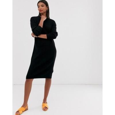 マンゴ レディース ワンピース トップス Mango long sleeved sweater dress in black