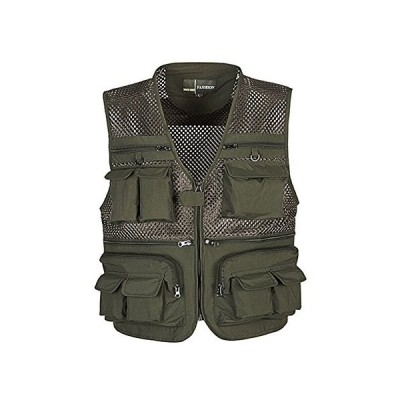 Ziker Men's Mesh Breathable Openwork Camouflage Journalist Photographer Fishing Vest Waistcoat Jacket Coat (Army_Green, X-Large)「並行輸
