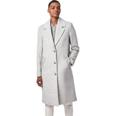 ベルナルド ファッションズ Bernardo Fashions レディース コート アウター Plaid Color-Block Wool Coat Light Grey