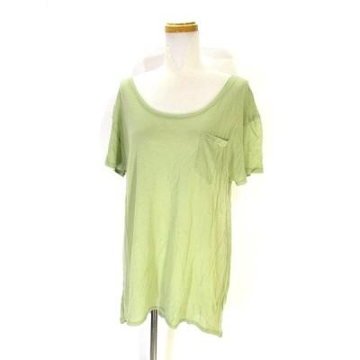 【中古】チャオパニック CIAOPANIC Tシャツ カットソー 半袖 胸ポケット 無地 F ライトグリーン 黄緑 レディース 【ベクトル 古着】