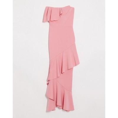 トゥルーバイオレット マキシドレス レディース True Violet bandeau midaxi dress with ruffle detail in coral エイソス ASOS
