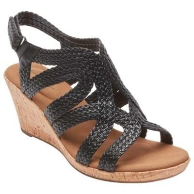 ロックポート サンダル シューズ レディース Briah Braid Strap Wedge Sandal (Women's) Black Leather