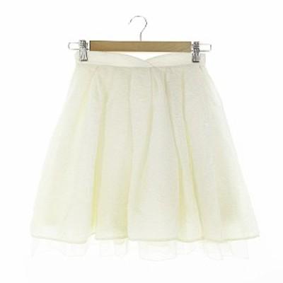 【中古】リリーブラウン Lily Brown スカート ギャザー ミニ 総柄 0 アイボリー /AAM10 レディース