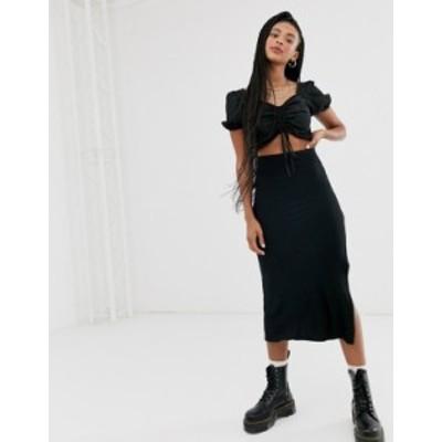 エイソス レディース スカート ボトムス ASOS DESIGN bias cut jersey midi slip skirt with split in black Black
