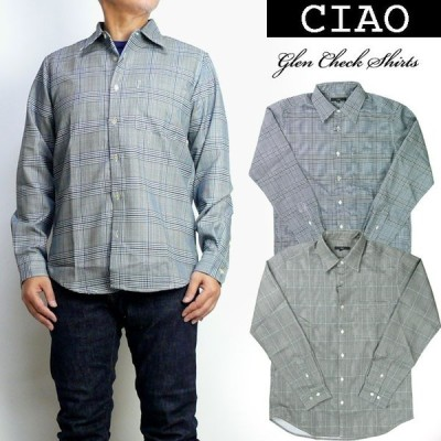 ciao チャオ メンズ シャツ グレンチェック レギュラーシャツ 長袖シャツ 28-881