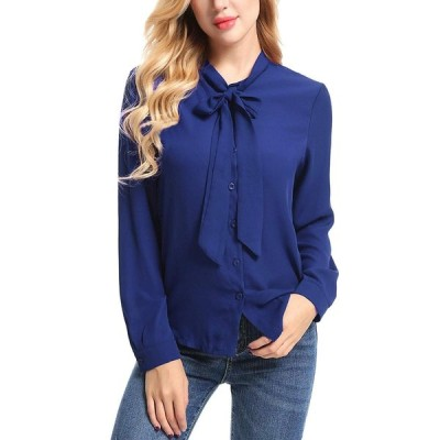 Bosbary Women's Casual Blouse Bow Tie Neck Long Sleeve Button Down Off