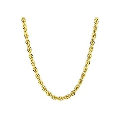 ゴールドロープチェーン 5mm 20倍 本物 24K ダイヤモンドカット メンズ レディース プレミアムファッションジュエリー ネックレス 半貴石ブロ