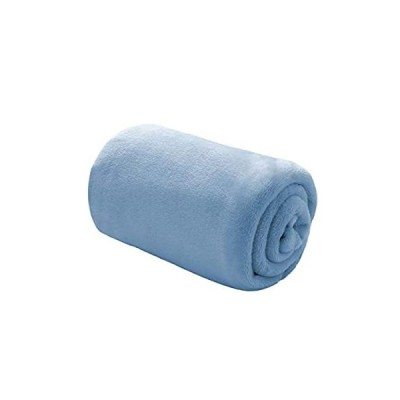 Bedsure 夏 冷房 毛布 ひざ掛け ブランケット ブルー フランネル おしゃれ プレミアム マイクロファイバー 70x100cm あったかい オ