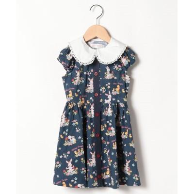 【シャーリーテンプル】 フラワーバニープリントシャツワンピ(100~120cm) キッズ 紺 100 ShirleyTemple