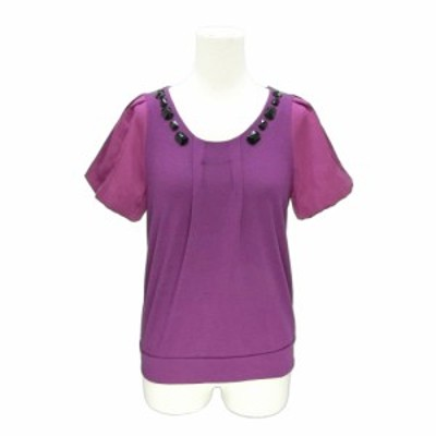 PARSLEY パースリー「M」ビジュー使い 袖切替半袖カットソー (半袖Tシャツ サテン) 077925【中古】