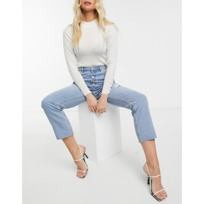 ミスガイデッド レディース デニムパンツ ボトムス Missguided high-waisted straight leg jeans in blue