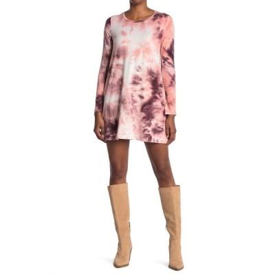 ラブファイヤ レディース ワンピース トップス Tie Dye Long Sleeve T-Shirt Dress PINK TIE DYE