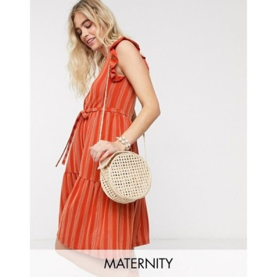 ママライシアス レディース ワンピース トップス Mamalicious Maternity midi dress with tiered skirt and flutter sleeve in rust