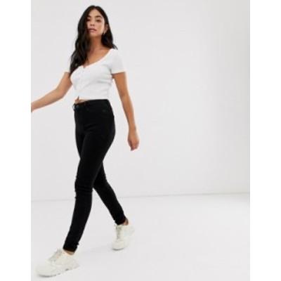 ニュールック レディース デニムパンツ ボトムス New Look high waisted super skinny jean in black Black