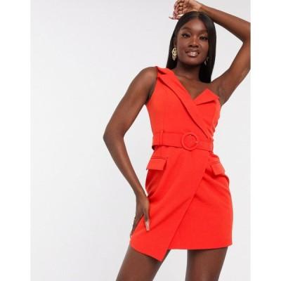 ラヴィッシュアリス ミディドレス レディース Lavish Alice tuxedo belted mini dress in red エイソス ASOS レッド 赤