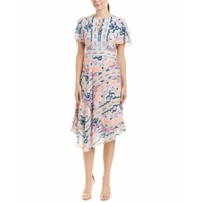 Nanette Lepore ナネットレポー ファッション ドレス Nanette Lepore Papas Roses Silk Midi Dress 2 Pink
