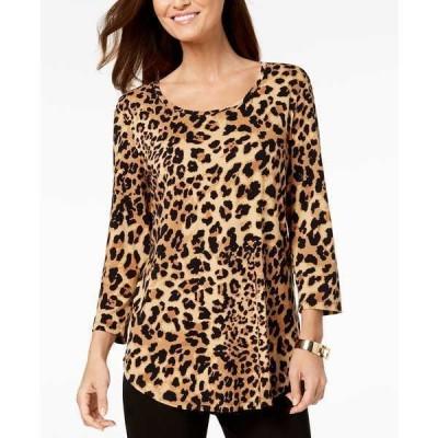 ジェイエムコレクション カットソー トップス レディース Petite 3/4-Sleeve Printed Top,  Cheetah Zoo