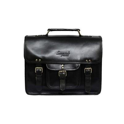 Brandslock Unisex Genuine Leather Laptop Messenger Shoulder Bag Briefcase Style (Black) 並行輸入品