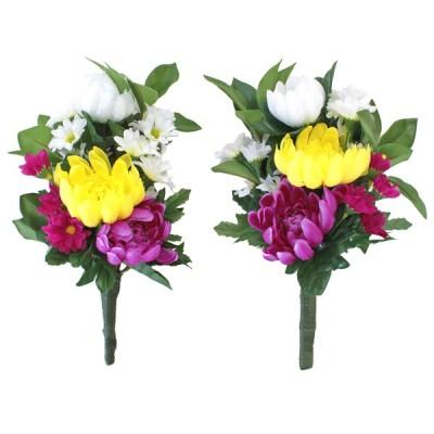 造花 仏花 しきびと三色菊の小花束一対 選べる3種類 CT触媒 造花 シルクフラワー お彼岸 お盆 お仏壇 仏花 お墓 花 お供え 山久