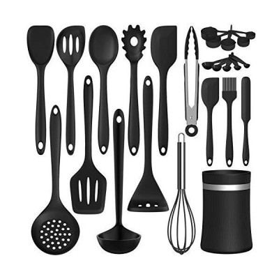 Silicone Cooking Utensil Kitchen Utensil Set, 24 Pcs Non-stick Cooking Utensils Spatula Set with Holder by AIKKIL, Heat Re