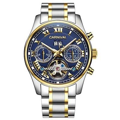 CARNIVAL(カーニバル) 8728G メンズ 自動巻 腕時計 [ネイビー/ゴールド/メタルバンド]アナログ 機械式 クロノグラフ スケ