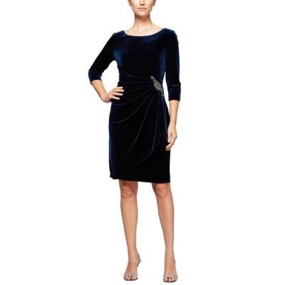 アレックスイブニングス ワンピース トップス レディース Velvet Ruched-Side Scoop-Back Dress Imperial
