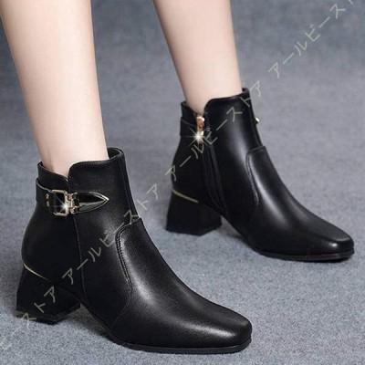 ショートブーツ レディースブーツ 5cmヒール ベルト付き 軽量 黒 歩きやすい 疲れにくい ローヒール アンクルブーツ 疲れない 大きいサイズ きれいめ