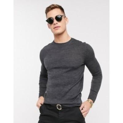 エイソス メンズ ニット・セーター アウター ASOS DESIGN knitted muscle fit crew neck sweater in charcoal Charcoal