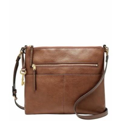 フォッシル レディース ショルダーバッグ バッグ Fiona Large Leather Crossbody Bag Brown
