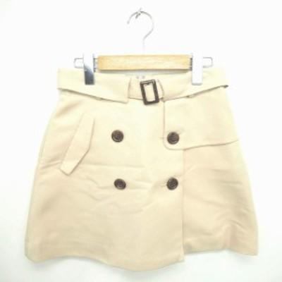 【中古】ダズリン dazzlin スカート 台形 ミニ ベルト 飾りボタン バックジップ M ベージュ 薄茶 /TT38 レディース